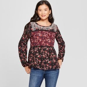 Knox Rose Floral Print Long Sleeve Embroidered Top